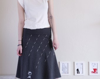 Gift for her Knit Skirt Women jersey skirts Teal Blue