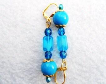 Blue Jade Earrings Aqua on Gold