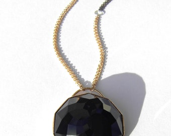 Onyx Necklace, 14k gold bezel, Handmade with mixed oxidized silver double chains w 14k gold accents, One-of-a-Kind Pendant, Black Necklace