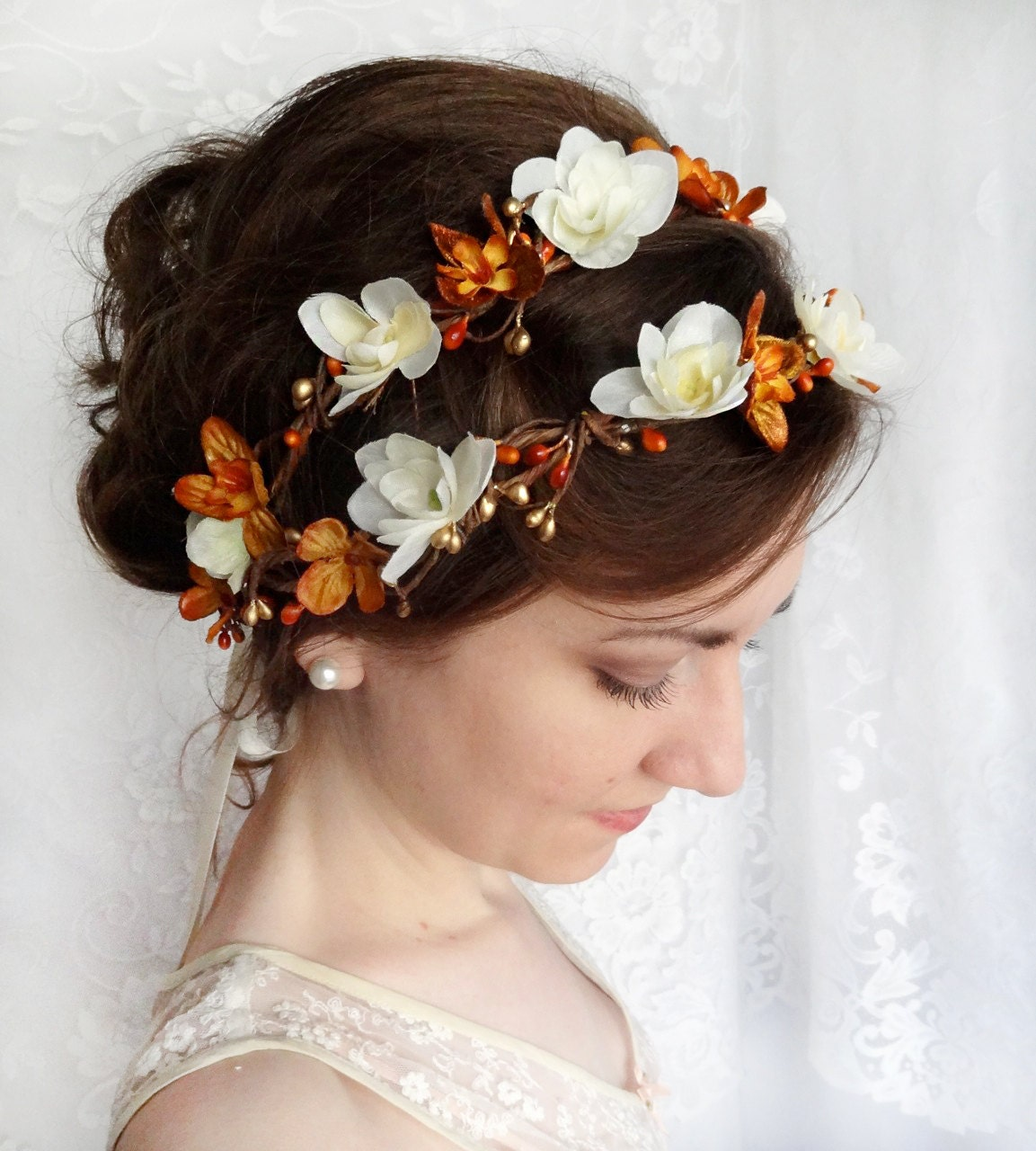 Wedding Hairstyle Crown: Fall Wedding Flower Crown Autumn Bridal Hair By Thehoneycomb