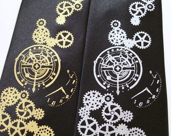 Steampunk necktie Clock works design print to order custom colors available