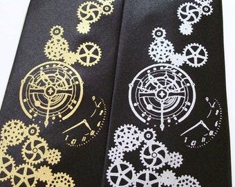 Mens necktie - Steampunk tie - silk screen design by RokGear