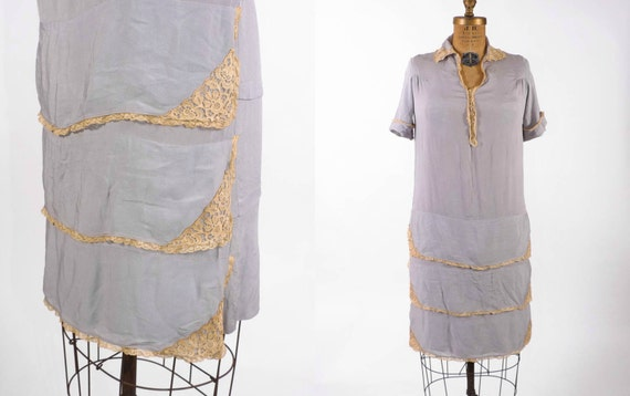 Vintage 1920's Dress - The Dove Gray Deco Silk Shift Dress w/ Lace Cascade Skirt & Collar - sz M