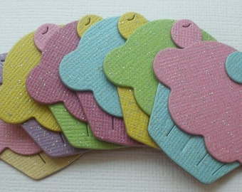 COTTON CANDY Shimmery Cupcakes - Invitations Toppers -  Chipboard Die Cuts