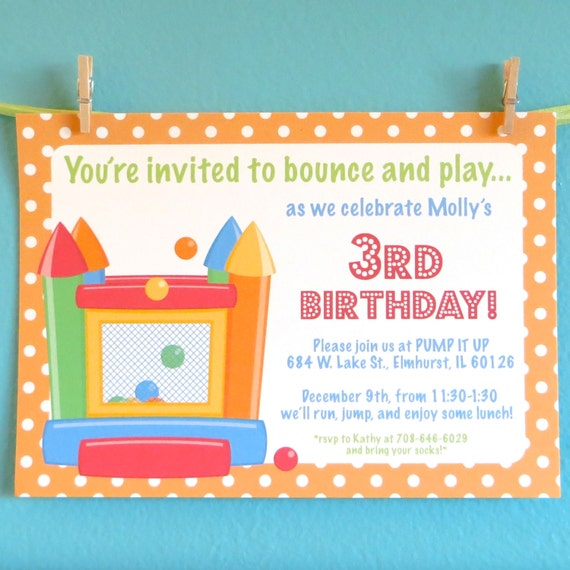 Bouncy house invitations kids birthday party invitation – Pump It Up Party Invitations