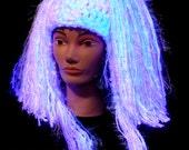 Candy Cloud Hair Fall Hat, Detachable Yarn Hair Falls, Blacklight Reactive
