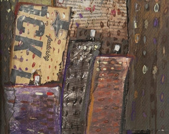 Manhattan Street - Original Mix Media New York City painting,Collage, Illustration, watercolor, cityscape,street art, sepia, brown