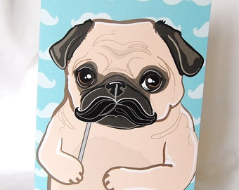Mustache Pug Greeting Card