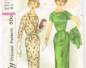 Original 1950's Bolero Jacket and Slim Dress Pattern Size 18 Bust 38 Simplicity 2460