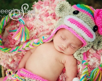 Rainbow Sock Monkey HAT Size Newborn 0 3m 6m  Crochet Baby Girls clothes photo prop Beautiful Colors Perfect year Round