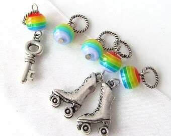 SALE - Get Together (Brand New Key) - Five Handmade Stitch Markers - 5.0mm (8 US) - Limited Edition