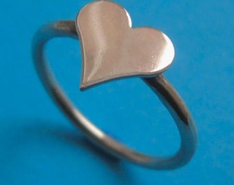 Sterling Silver Medium Heart Stacking Ring