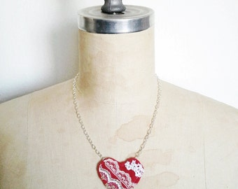 Sweet Heart Necklace, Red Felt and Lace Necklace, Textile Necklace