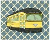 Como Harriet Trolley - Minneapolis Cut Paper Collage Print