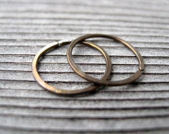 mens hoop earrings in antique bronze. men's jewelry. small niobium hoops.