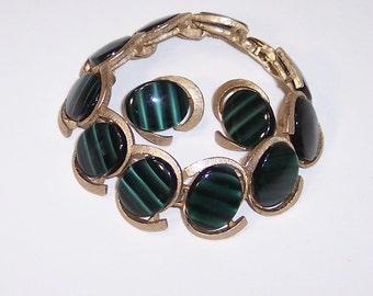 Vintage Green Bracelet & Clip Earring Set, Faux Tiger Eye, Goldtone Oval Links,  Marboux 1036