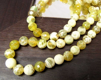 Lime Agate Faceted Beads 1 Strand  8mm faceted beads  Green Cream Necklace bracelet  Supplies Supply Jewelry Supply Necklace Beads #137