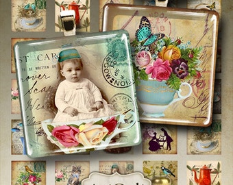 Digital Collage Sheets TEA PARTY 1x1 inch and 1.5x1.5 inch size printable images for glass and resin pendants magnets scrapbooking ArtCult