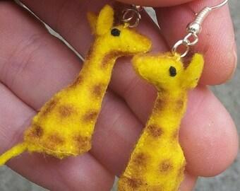 Tiny Giraffe Earrings-- miniature felt plush animals