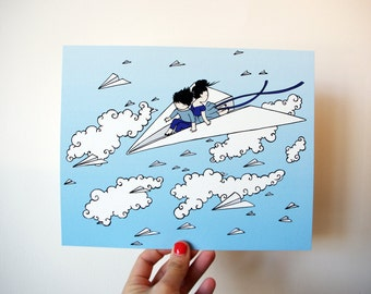 Paper Plane 8x10 Print - kids riding a paper airplane