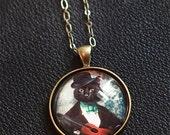 Black Cat Jewelry Gifts for Cat Lovers Cat Necklace Jewelry Black Cat Photography Pet Portrait Photo Pendant - Felix Fitzpatrick