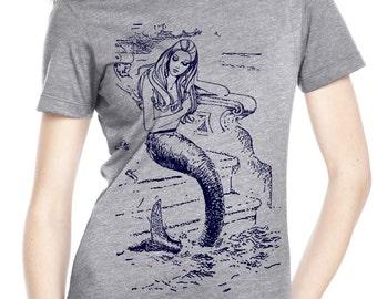 mermaid shirt - womens tshirts - mermaid gifts - nautical shirt - sailing tshirt - nautical gift - gift for her - MERMAID - navy crew neck