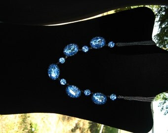 Yin and Yang - Light Sapphire Large Stone Statement Necklace OOAK, Rhinestone Necklace, Gift Ideas, Gifts for Her