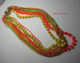 Lucite Necklace Oranges/Lemons/Limes OH MY   Stunning Runway Vintage Jewelry