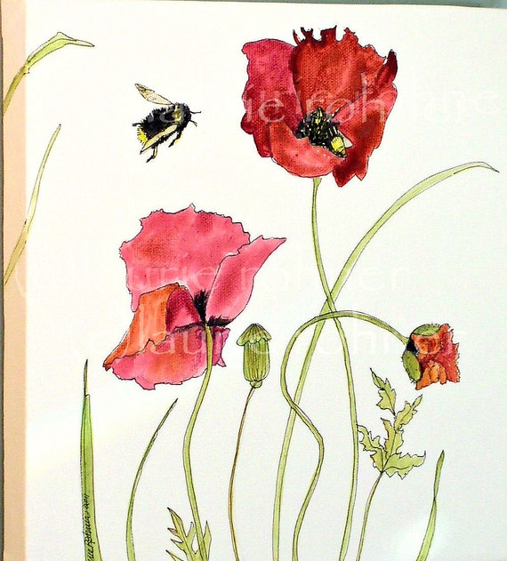 Red Poppies Original Acrylic Painting  Bees Buzzing Canvas Artwork by Laurie Rohner
