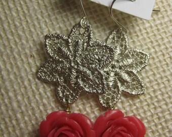 Lace Rose Earrings, Rose Earrings, Magenta Earrings, Fuchsia Earrings, Pink Earrings