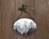 Large Boreal Necklace in Antique Black and Graphite - Hand Painted Tree Artwork Pendant - MeghannRader