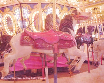 Carousel Horses Wall Decor, Merry Go Round Carnival Horses, Carousel Horses Print, Baby Girl Nursery Decor, Carnival Horses Wall Art Print