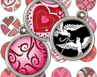Sweet Valentine Hearts and Love Birds 1 inch Circle Digital Collage Sheet- bottlecaps jewelry pendant ring glass domes bubbles - U print