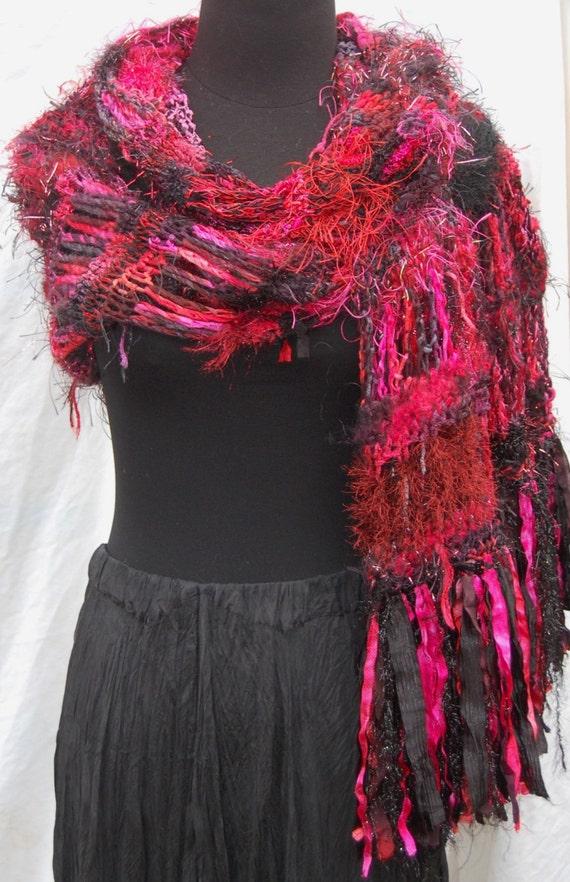 40% Off Sale Red & Black Handmade Crochet Wrap