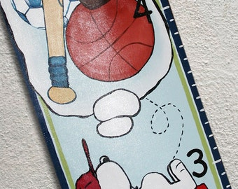 Custom Painted Snoopy Growth Chart Canvas Sports