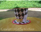 Alice In Wonderland Top Hat Centerpiece - Queen Of Hearts - DIY Color Digital Printable PDF