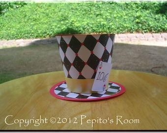 Alice In Wonderland Top Hat Centerpiece - Queen Of Hearts - DIY Color Digital Printable PDF