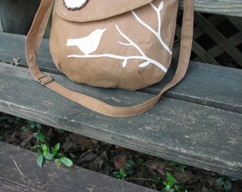 Appliqued Bird Purse, Handmade Wood Buttons /Tote /Handbag /Messenger /School Bag