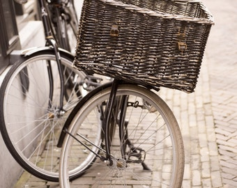 Amsterdam Photography - Bicycle with Basket, Fine Art Travel Photograph, Sepia, Urban Wall Decor