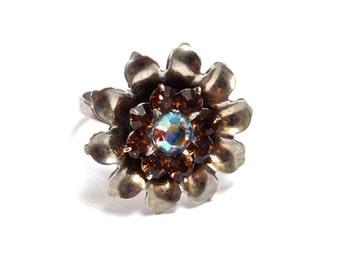 Recycled Sterling & Rhinestone Ring - Size 7.5 - WW2 Retro Design Flower  - Handmade by Ruby In The Dust