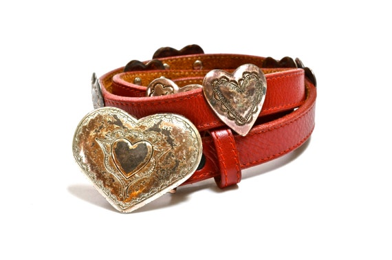 90s Concho Belt -  VALENTINE Red Hearts - DISTRESSED - Punched Southwest Design - 30 - by Justin