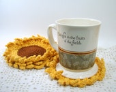 Sunflower Coasters, Set of Four, Crochet Flower Coasters, Summertime Decor, Gold and Rust, Ready to Ship - MagnoliaSurprise