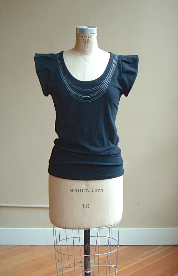 Jersey Top with White Necklace Stitching, modern romantic style- made to order