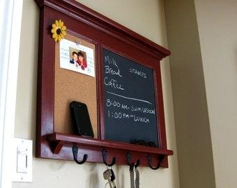 Wall Shelf Bulletin Board Cork Board Kitchen Chalkboard Keyhook Family Organizer Office Organizer Home Decor Entryway Organizer
