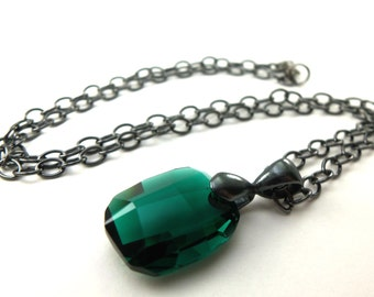 Dark Silver Emerald Necklace Crystal Jewelry May Birthstone Necklace Birthstone Jewelry Emerald Jewelry Green