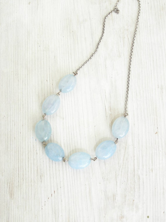 Aqua blue Mint Blue necklace Gemstone Quartz on sterling silver Israel chain necklace handmade in Israel