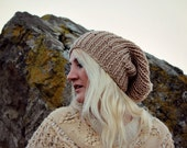 Beige Slouchy Beanie Gift for Her Hand Knitted Beanie for Her Chunky Knit Beanie Womens Winter Beanie Mens Slouchy Hat Gift for Wife