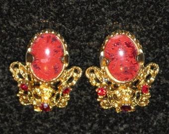 CLEARANCE SALE - Vintage Red Orange Rhinestone Clip Earrings (E-2-2)