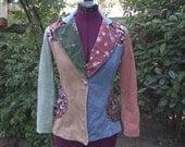 1970s Jacket - 1970s Blazer - Corduroy Jacket - Corduroy Blazer - Calico Blazer - Bohemian Blazer - Hippie Jacket - Western Blazer - Size 9