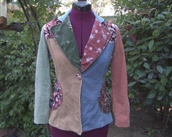 1970s Jacket 1970s Blazer Corduroy Jacket Corduroy Blazer Calico Blazer Bohemian Blazer 70s Hippie Jacket Western Blazer Boho Jacket Size 9